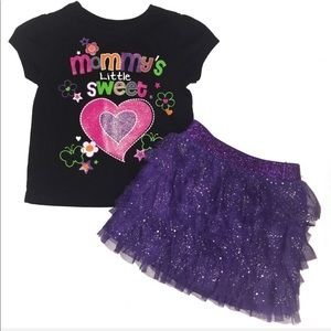 Baby Girl Outfit Skirt and Short Sleeve Shirt